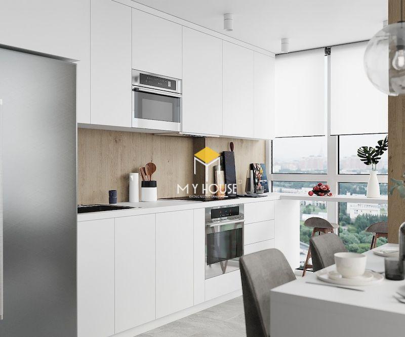 Thiết kế tủ bếp chữ I màu trắng phủ acrylic