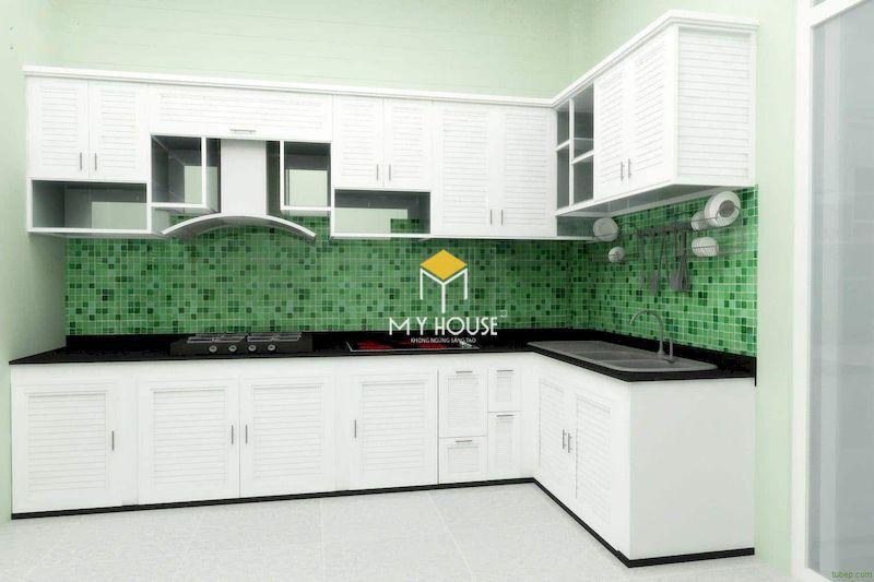 Thiết kế tủ bếp màu trắng mới lạ và hiện đại cho nhà ở