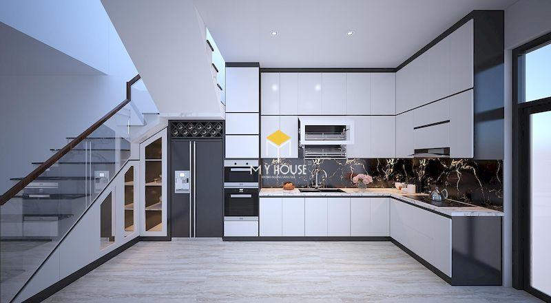 Tủ bếp gỗ công nghiệp phủ acrylic màu trắng (bóng gương)