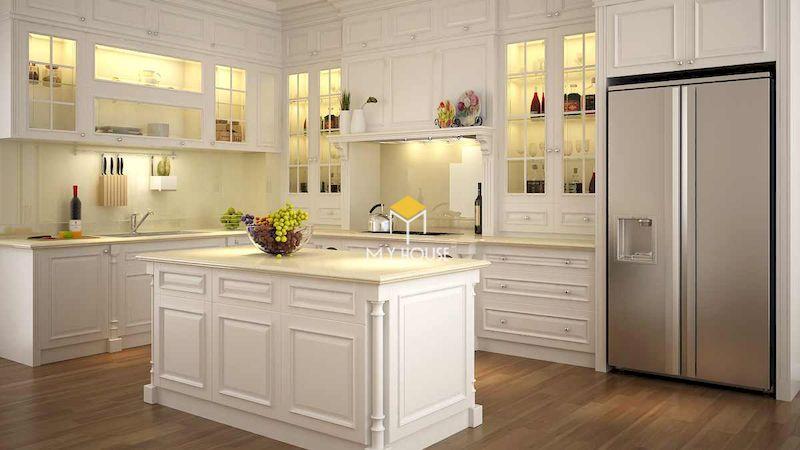 Tủ bếp tân cổ điển được làm từ chất liệu gỗ tự nhiên cao cấp
