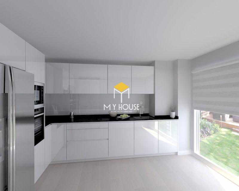 Tủ bếp màu trắng giúp không gian trở nên thoáng đãng hơn