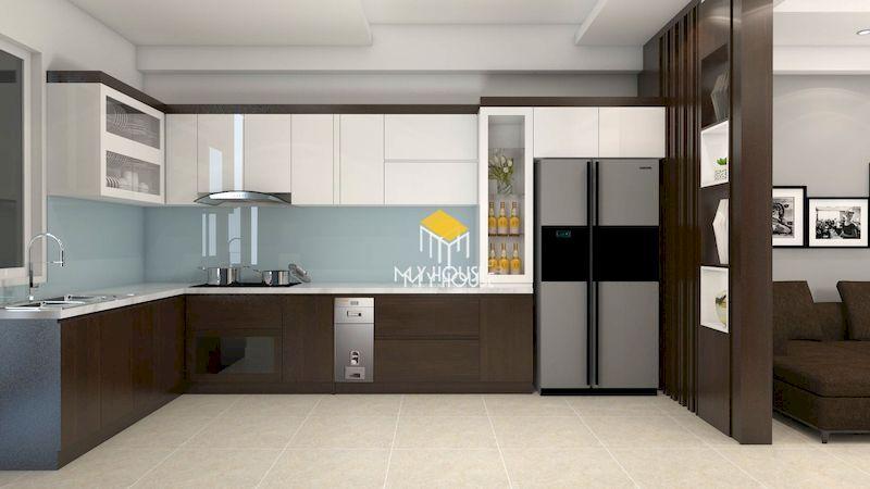 Thiết kế tủ bếp gỗ công nghiệp phủ melamine cho chung cư, nhà phố, nhà ống