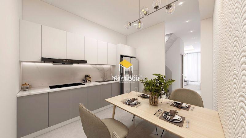 Thiết kế nội thất phòng bếp chung cư tối giản với chất liệu gỗ công nghiệp