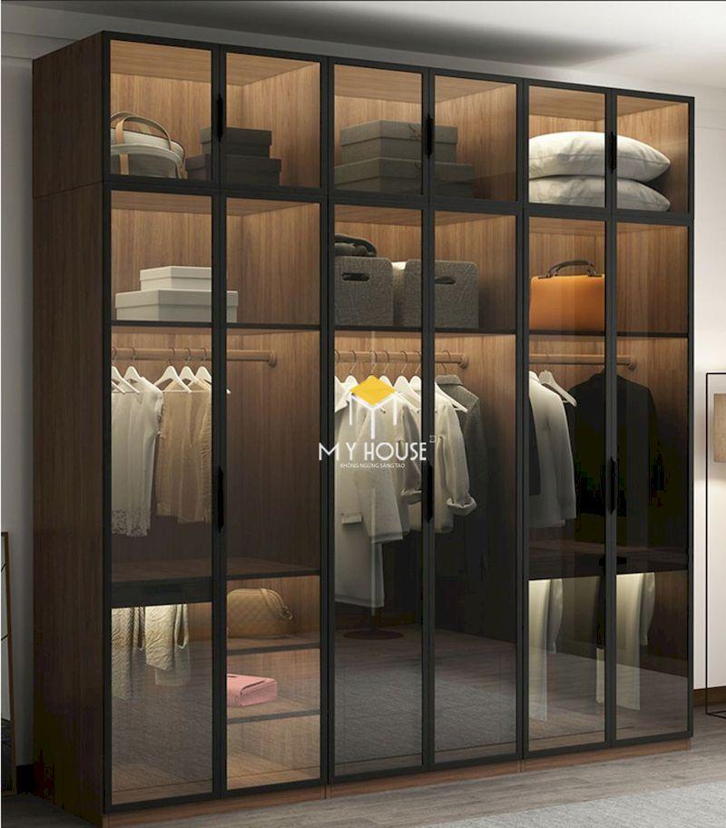 Tủ quần áo 6 cánh kính hiện đại