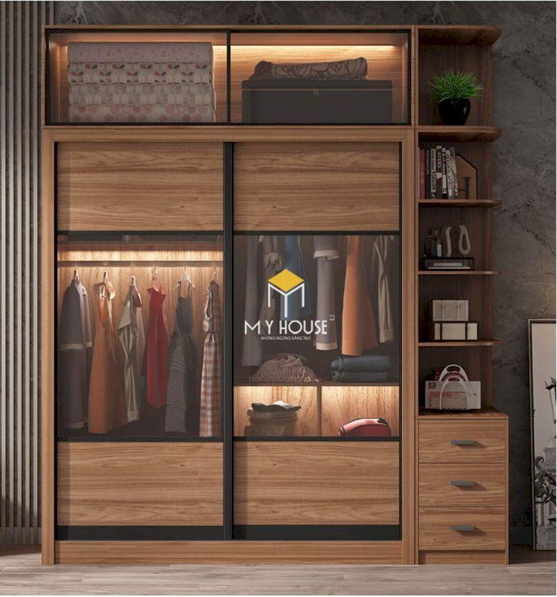 Thiết kế tủ quần áo gỗ tự nhiên kết hợp cánh kính
