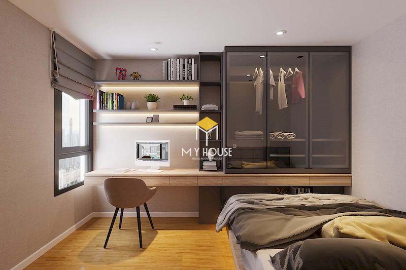 Mẫu tủ cánh kính kết hợp bàn học cho phòng ngủ đơn giản