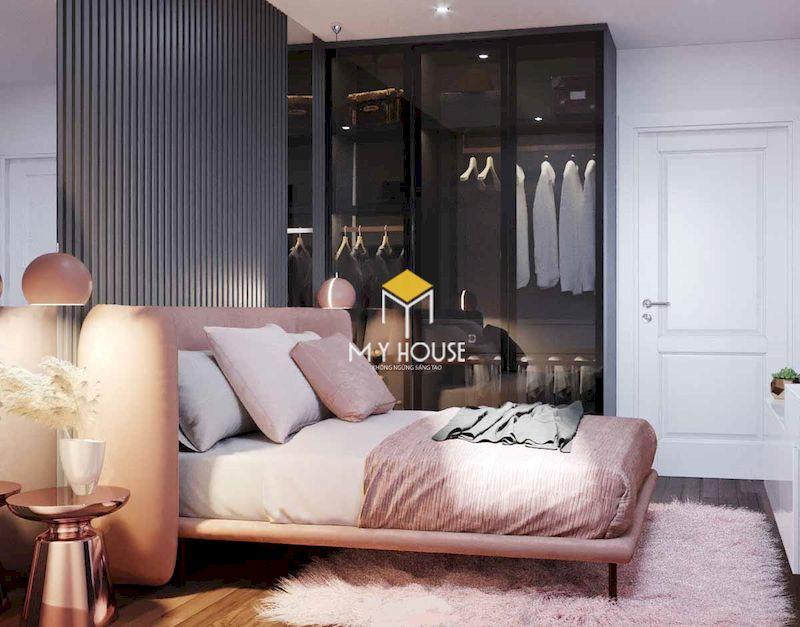 Thiết kế nội thất phòng ngủ cao cấp với tủ quần áo cánh kính sang trọng