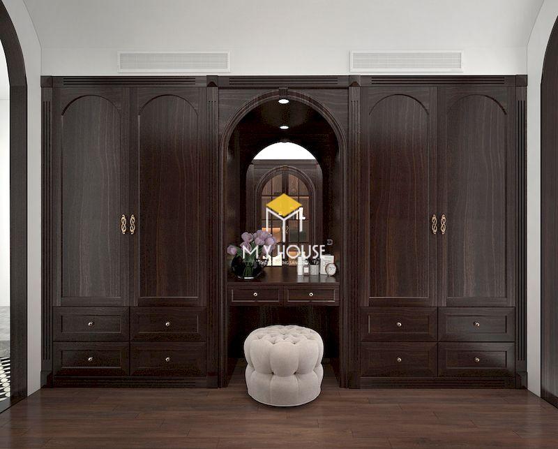 Tủ quần áo kết hợp bàn trang điểm phong cách tân cổ điển gỗ óc chó