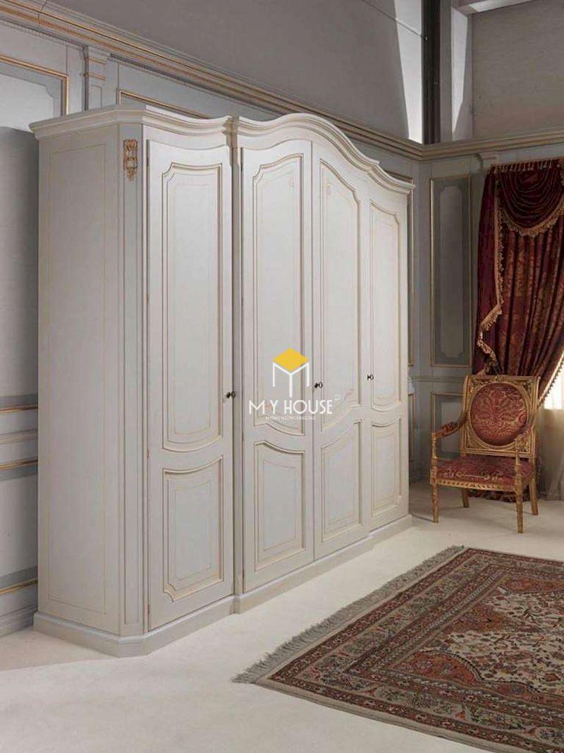 Tủ quần áo tân cổ điển 4 cán cho phòng ngủ tân cổ điển