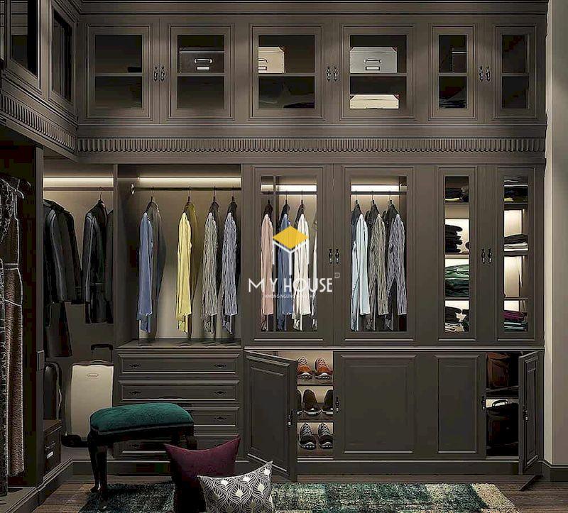 Tủ quần áo tân cổ điển gỗ công nghiệp