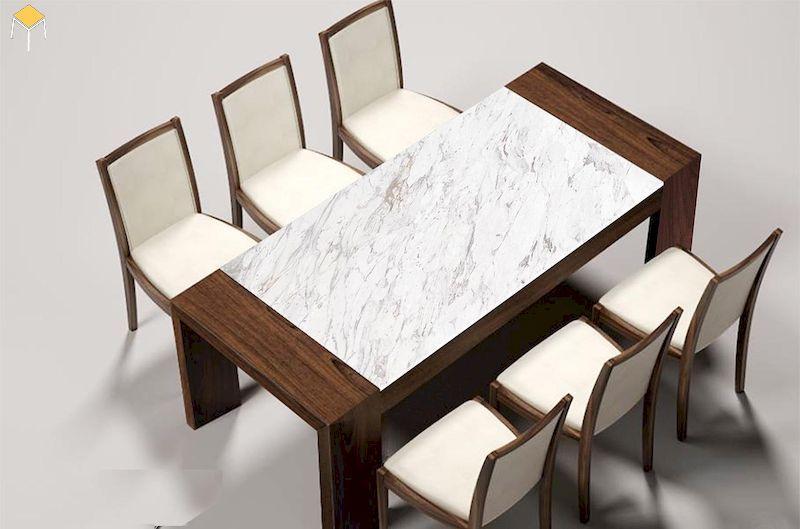 Mẫu bàn mặt đá kết hợp gỗ tự nhiên cao cấp