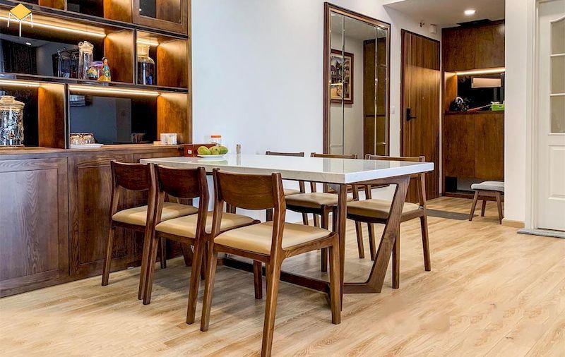 Bộ bàn ăn gỗ óc chó mặt đá phong cách concorde đẹp