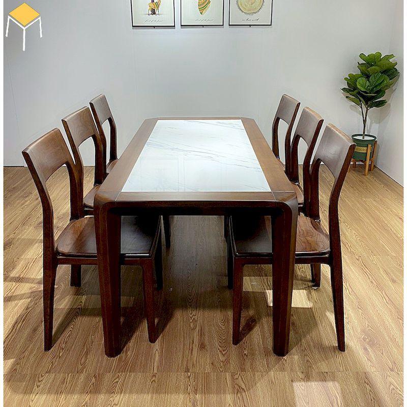 Sự kết hợp của đá nhân tạo và gỗ tự nhiên óc chó cho bàn ăn 6 ghế