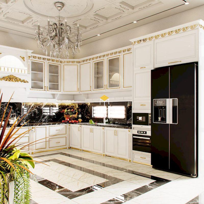Mẫu phòng bếp tân cổ điển màu trắng