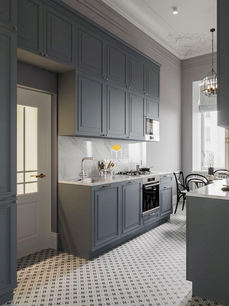 Mẫu phòng bếp tân cổ điển đơn giản cho chung cư, nhà phố