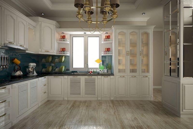 Cánh tủ bếp tân cổ điển gỗ tự nhiên sang trọng