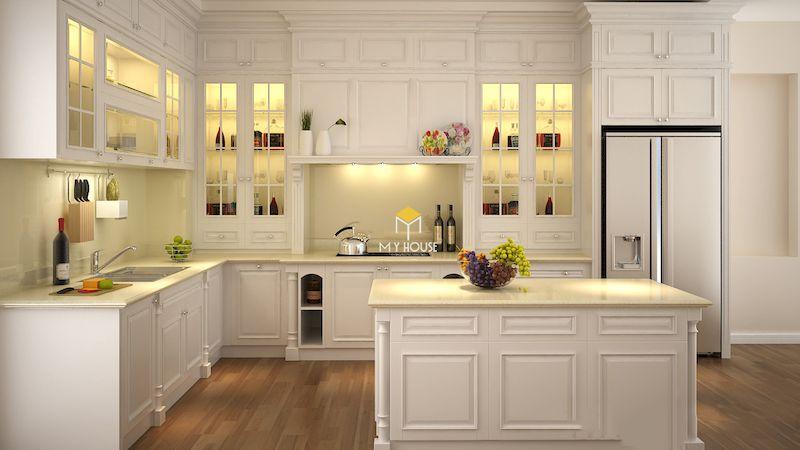 Tủ bếp tân cổ điển gỗ tự nhiên màu trắng sang trọng