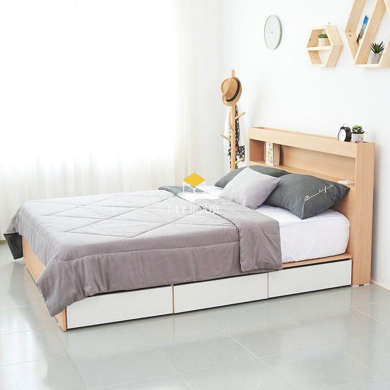 Mẫu giường gỗ công nghiệp có ngăn kéo