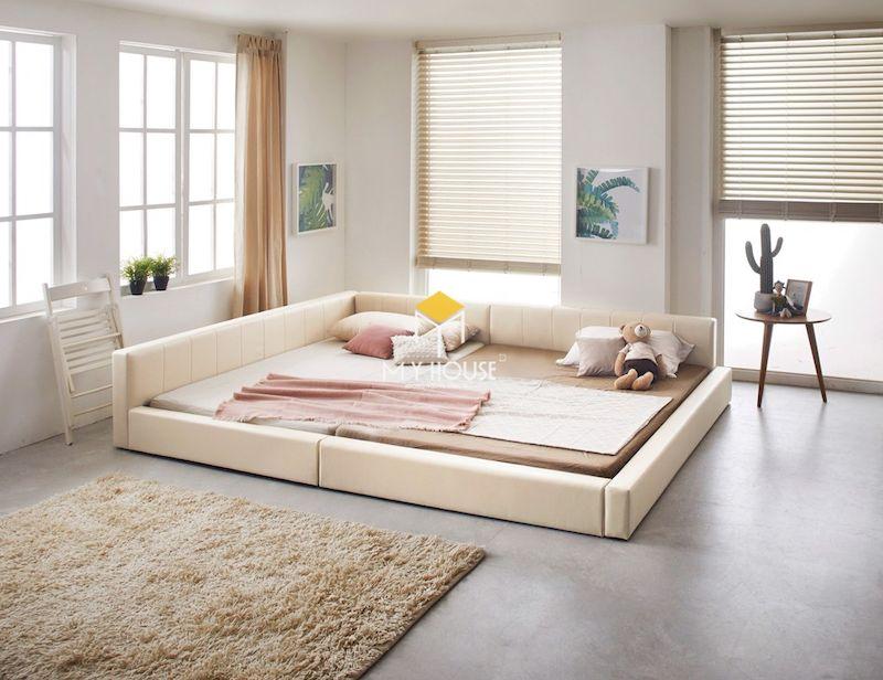 Mẫu giường gỗ công nghiệp bọc nỉ
