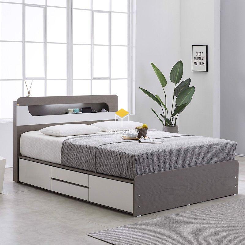 Mẫu giường gỗ công nghiệp 1.2m có ngăn kéo