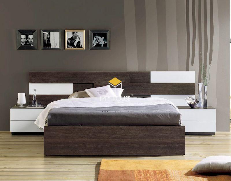 Mẫu giường gỗ công nghiệp đẹp phủ melamine
