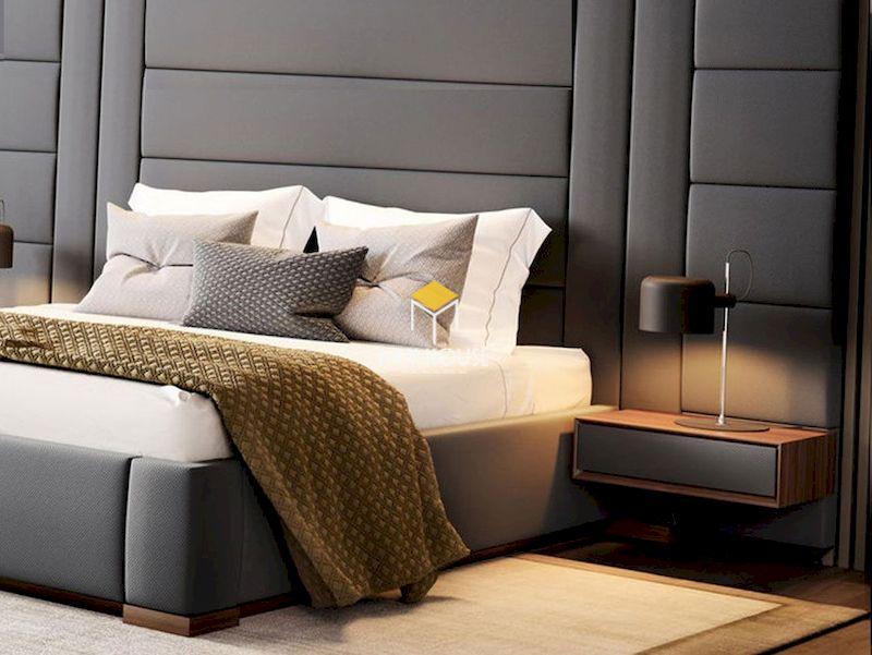 Mẫu giường ngủ bọc nệm chân gỗ tự nhiên