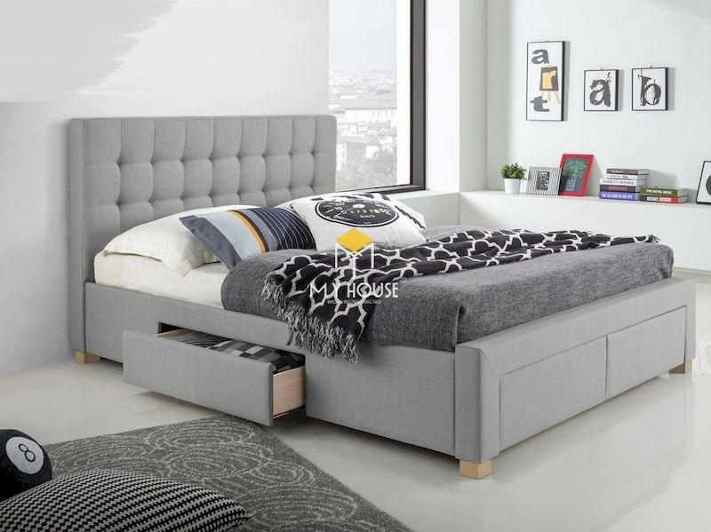 Mẫu giường ngủ bọc nệm đa năng có ngăn kéo