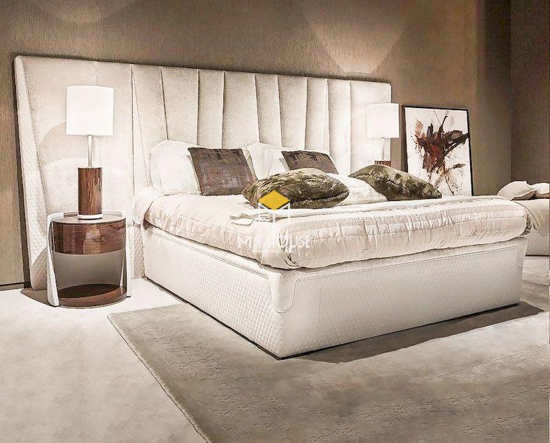 Mẫu giường ngủ bọc nệm sang trọng màu trắng