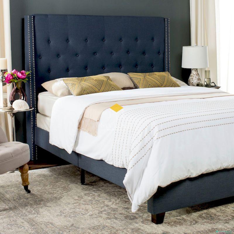 Mẫu giường bọc nệm màu xanh coban sang trọng