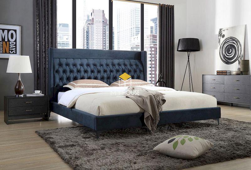 giường ngủ bọc nệm da công nghiệp hiện đại