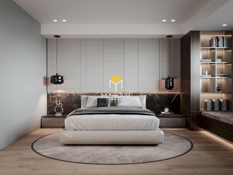 Thiết kế nội thất phòng ngủ với giường ngủ bọc nệm màu trắng