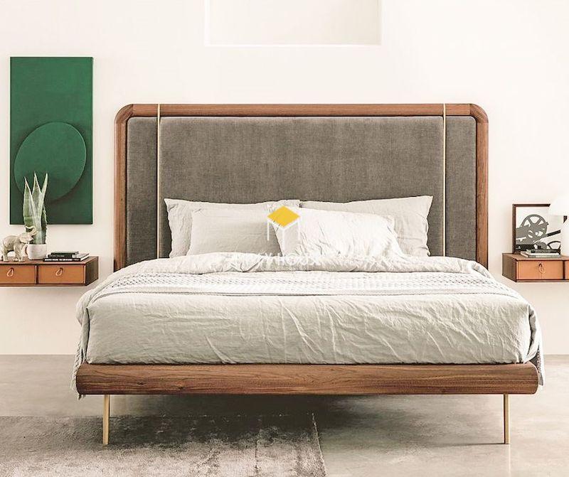 Mẫu giường ngủ kiểu Nhật gỗ óc chó tự nhiên
