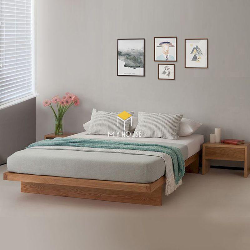 giường ngủ kiểu Nhật đơn giản bằng gỗ tự nhiên nguyên khối