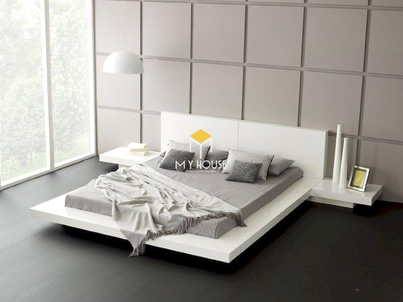 giường ngủ kiểu Nhật gỗ công nghiệp màu trắng