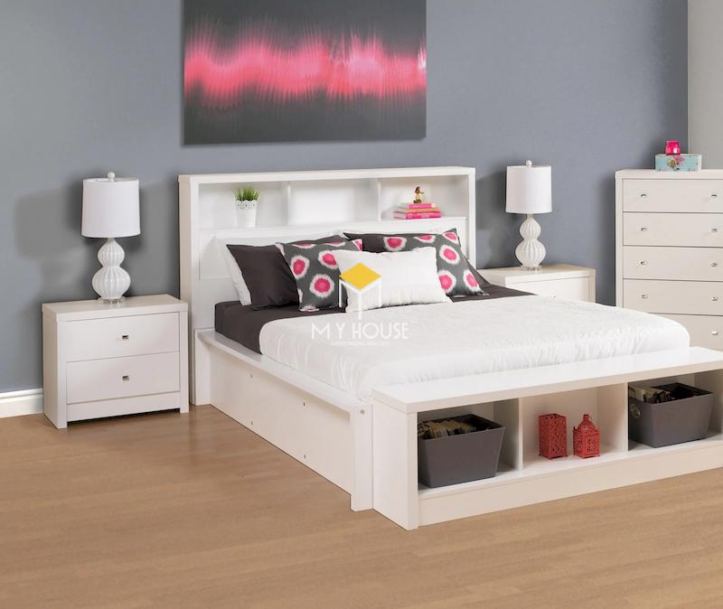 Mẫu giường ngủ màu trắng đẹp 1
