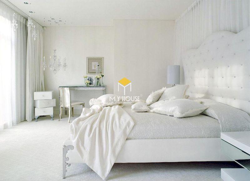 Mẫu giường ngủ tân cổ điển màu trắng