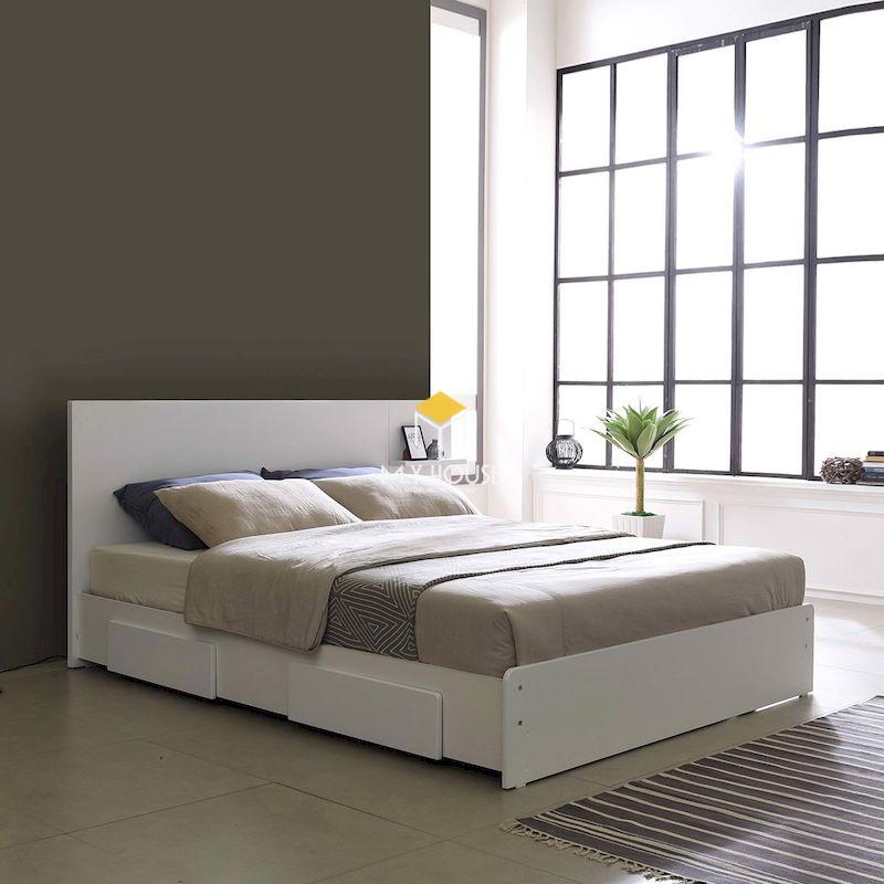 giường ngủ gỗ công nghiệp đa năng màu trắng