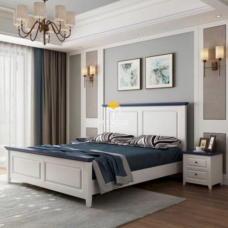 giường ngủ màu trắng cho phòng ngủ tân cổ điển
