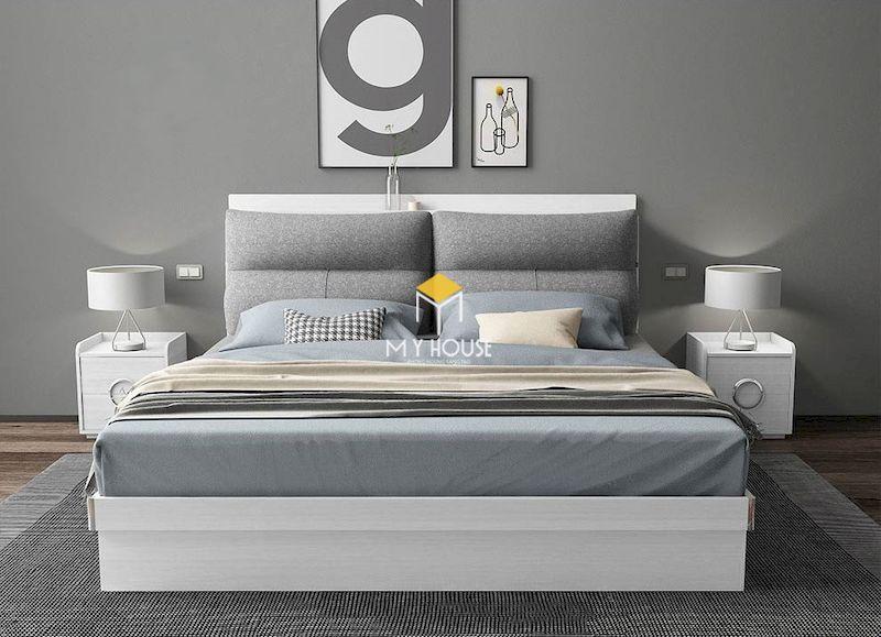 Giường ngủ màu trắng gỗ công nghiệp giá rẻ
