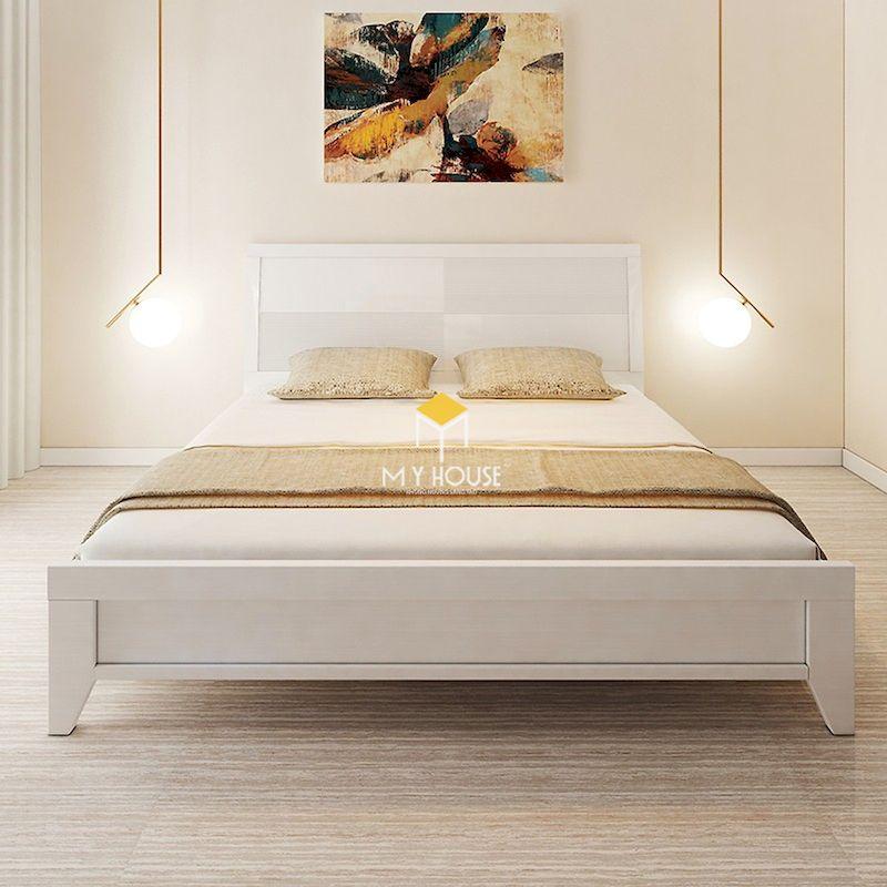 giường ngủ màu trắng gỗ MDF