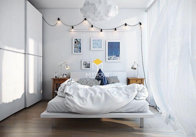 giường ngủ màu trắng đơn giản