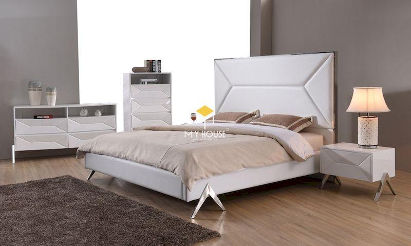 giường ngủ bọc nỉ trắng