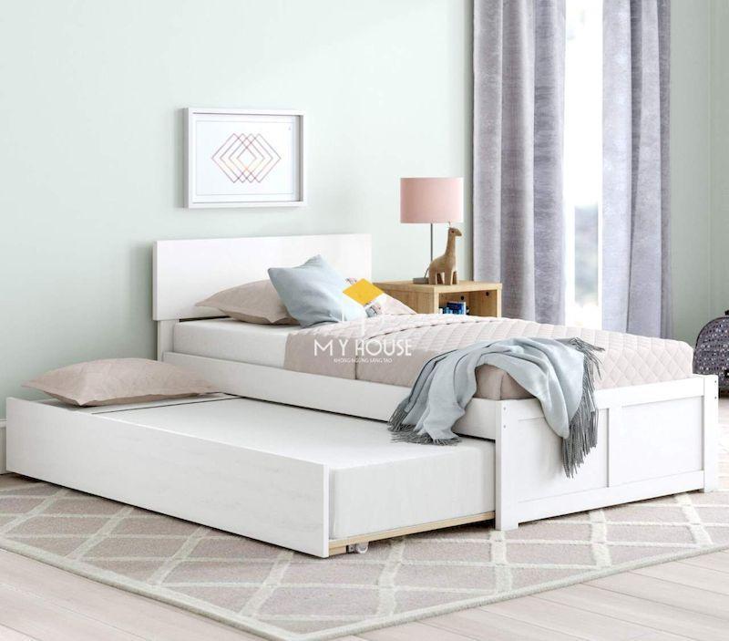Giường ngủ màu trắng gỗ công nghiệp hiện đại