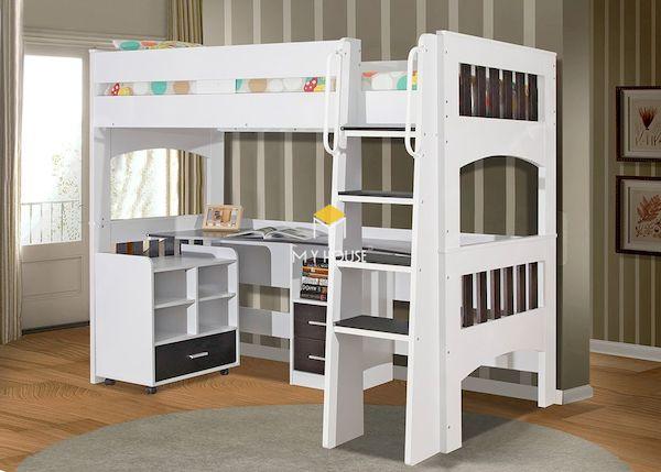 Mẫu giường tầng kết hợp bàn học gỗ công nghiệp