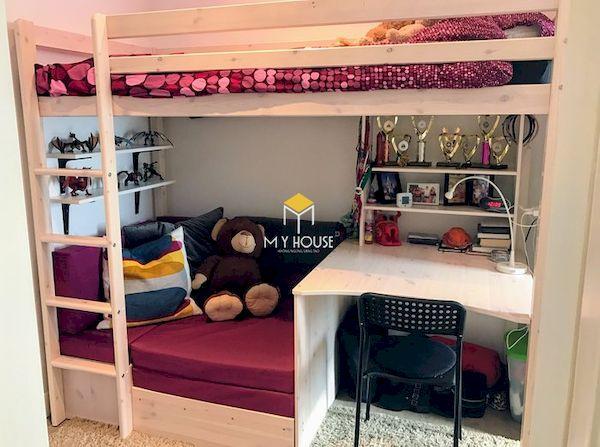 Mẫu giường tầng kết hợp bàn học gỗ tự nhiên