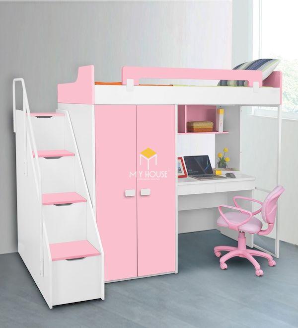 Mẫu giường tầng kết hợp bàn học, tủ quần áo