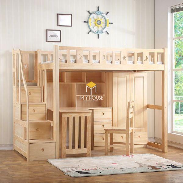 Mẫu giường tầng kết hợp bàn học gỗ sồi