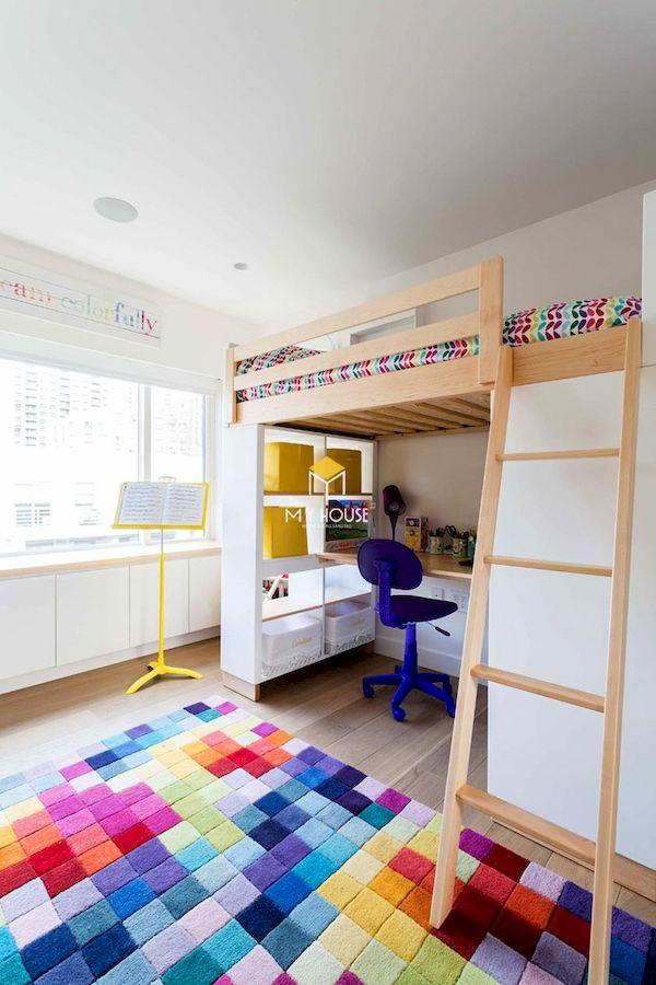 Mẫu giường tầng kết hợp bàn học cho người lớn