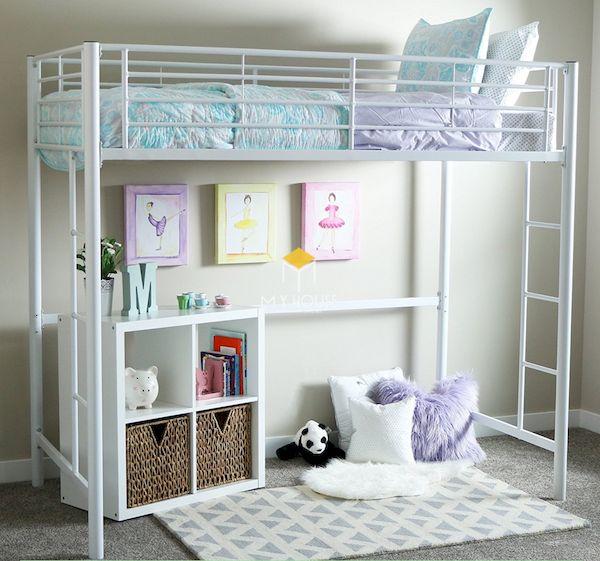 Mẫu giường tầng kết hợp bàn học bằng kim loại, thiết kế đơn giản