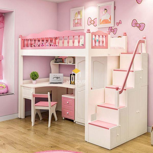 Giường tầng màu hồng kết hợp bàn học cho trẻ em